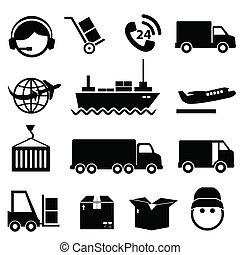 frakt, sätta, skeppning, ikon