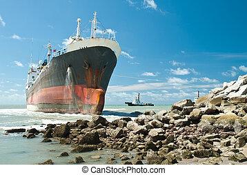 frakt, springa, klippig kust, aground, skepp