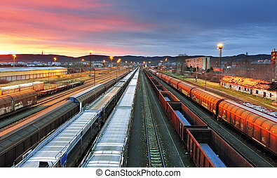 frakt, Tåg,  -, gods, transport