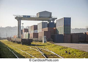 frakt, Tåg, plattform