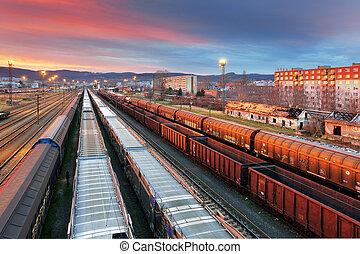 frakt, Tåg,  -, transport
