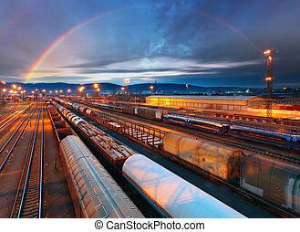 frakt, transport, genomresa, -, plattform, tåg, gods