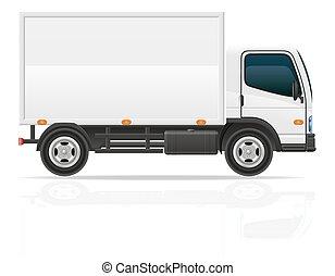 frakt, transport, illustration, vektor, lastbil, liten