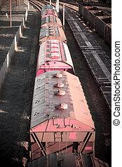frakt, transport, underhållstjänst, bakgrund, fördelning, trains.