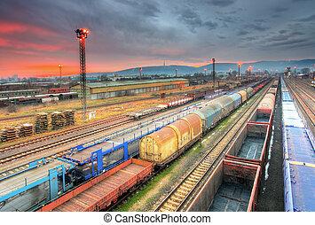 frakt, trasportation, -, plattform, tåg, gods, natt