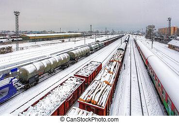 frakt, vinter, -, plattform, tåg, gods, tranportation, järnväg