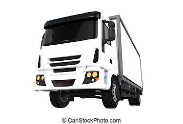 frakt, vit, lastbil, isolerat