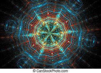 fraktal, illustration, bakgrund, med, glas, kosmisk, mönster