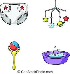 fraldas, berço brinquedo, estilo, nascido, símbolo, jogo, vetorial, caricatura, crianças, estoque, web., bath., ícones, sobre, chocalho, bebê, ilustração, cobrança