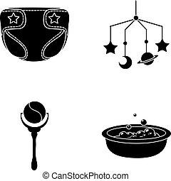fraldas, berço brinquedo, estilo, nascido, símbolo, jogo, vetorial, crianças, estoque, web., bath., ícones, sobre, pretas, chocalho, bebê, ilustração, cobrança