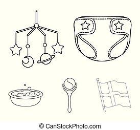 fraldas, esboço, berço brinquedo, estilo, nascido, símbolo, jogo, vetorial, crianças, estoque, web., bath., ícones, sobre, chocalho, bebê, ilustração, cobrança