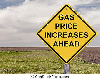 framåt, -, pris, gas, ökar, varning