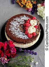 framboesa, cinzento, chocolate, fundo, bolo, flores, creme