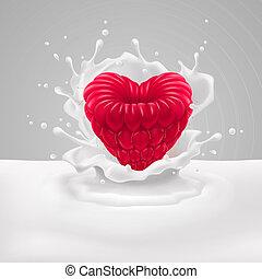 framboesa, coração, leite