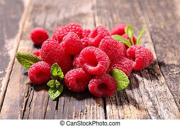 framboesa, folha, fruta