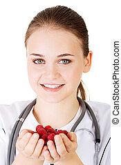 framboises, main., tenue, docteur féminin