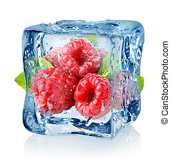 frambuesas, cubo, hielo