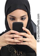 framdelen beskådar, av, en, arab, kvinna, hemfallet, till, den, smart, ringa