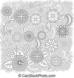 frame., рука, декоративный, стиль, абстрактные, вничью, болван, border., изобразительное искусство, zentangle