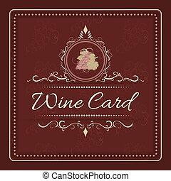 frame., 型, 手, デザイン, メニュー, ブドウ, 華やか, 引かれる, ワイン, カード, 束