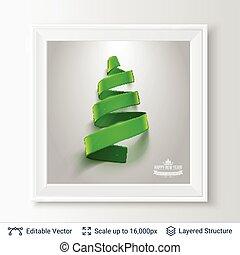 frame., 木, 形, 緑, クリスマス, リボン