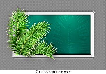 frame., 緑, leaves., layout., トロピカル, デザイン, vector., やし, 旗