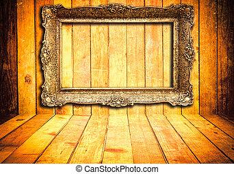 frame, achtergrond, houten