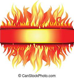 frame, achtergrond, met, vuur