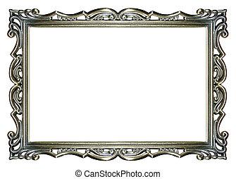 frame, afbeelding, zilver