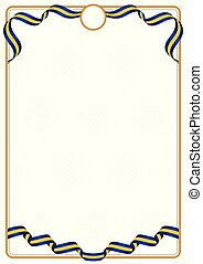 Frame and border of Barbados colors flag