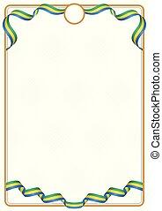 Frame and border of Gabon colors flag