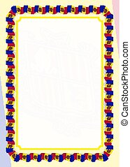 Frame and border of ribbon with Andorra flag, template elements for your certificate and diploma. Vector