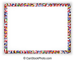 Frame and border of ribbon with flags of all countries of the European Union. 3d illustration
