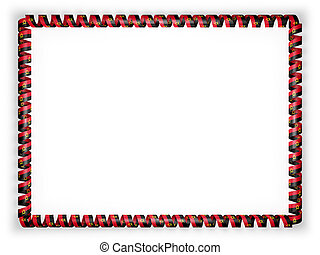 Frame and border of ribbon with the Angola flag. 3d illustration