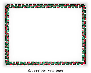Frame and border of ribbon with the Bangladesh flag. 3d illustration