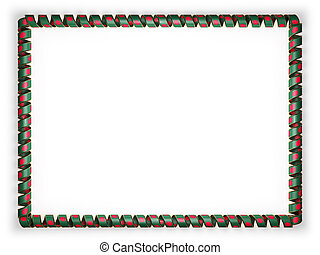 Frame and border of ribbon with the Bangladesh flag, edging from the golden rope. 3d illustration