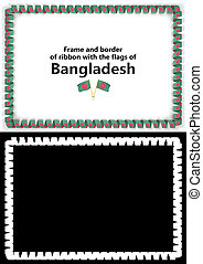 Frame and border of ribbon with the Bangladesh flag for diplomas, congratulations, certificates. Alpha channel. 3d illustration