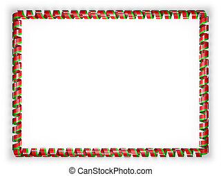 Frame and border of ribbon with the Belarus flag. 3d illustration