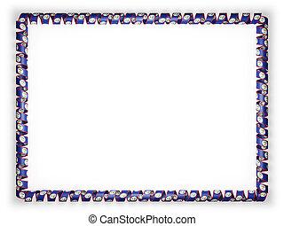 Frame and border of ribbon with the Belize flag. 3d illustration