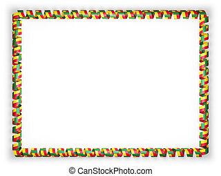 Frame and border of ribbon with the Benin flag. 3d illustration