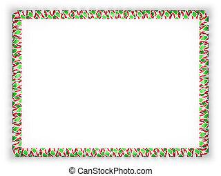 Frame and border of ribbon with the Burundi flag. 3d illustration