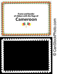 Frame and border of ribbon with the Cameroon flag for diplomas, congratulations, certificates. Alpha channel. 3d illustration