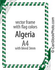 Frame and border of ribbon with the colors of the Algeria flag