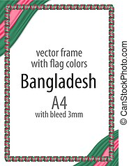 Frame and border of ribbon with the colors of the Bangladesh flag
