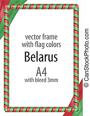 Frame and border of ribbon with the colors of the Belarus flag