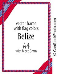 Frame and border of ribbon with the colors of the Belize flag
