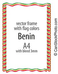 Frame and border of ribbon with the colors of the Benin flag
