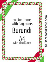 Frame and border of ribbon with the colors of the Burundi flag