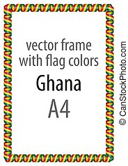 Frame and border of ribbon with the colors of the Ghana flag