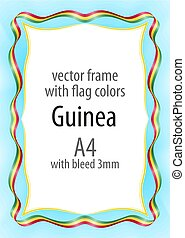 Frame and border of ribbon with the colors of the Guinea flag